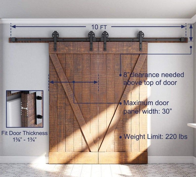 Barn Door Hardware Kit Sliding Roller For Single Closet Doors In Track Sizes From 5ft To 16ft In 2020 Barn Door Hardware Door Hardware Barn Door