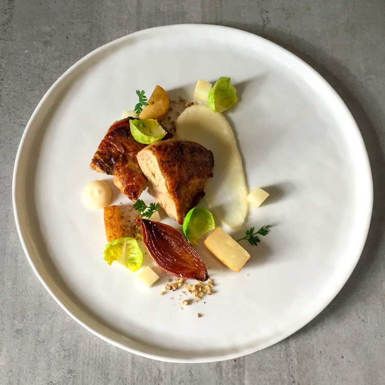Guinea Fowl With Celeriac Puree Confit Shallots And Cider Jus