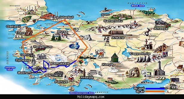 Cool Turkey Map Tourist Attractions Holidaymapq Pinterest - Turkey map