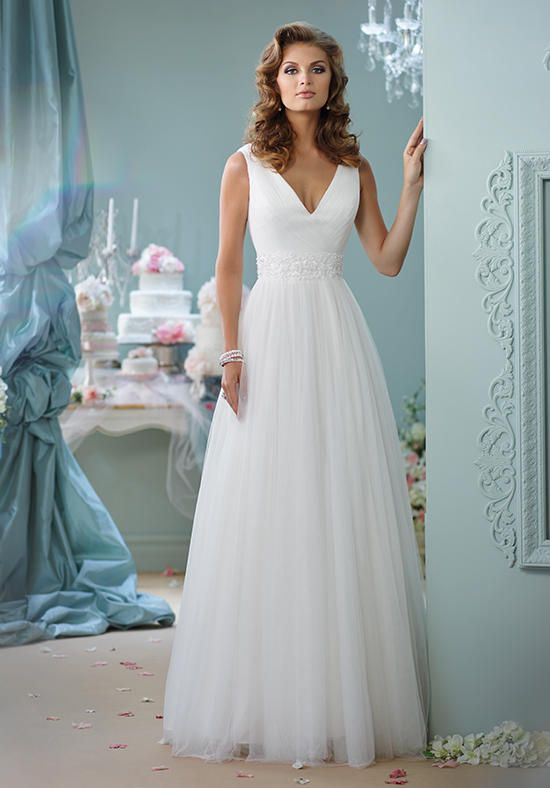 Mon Cheri gown with a-line silhouette, sleeveless tulle, and ...