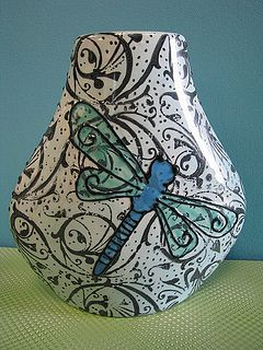 Whimsical Dragonfly Vase. Just use stamps in the background, and then paint the dragonfly on top.
