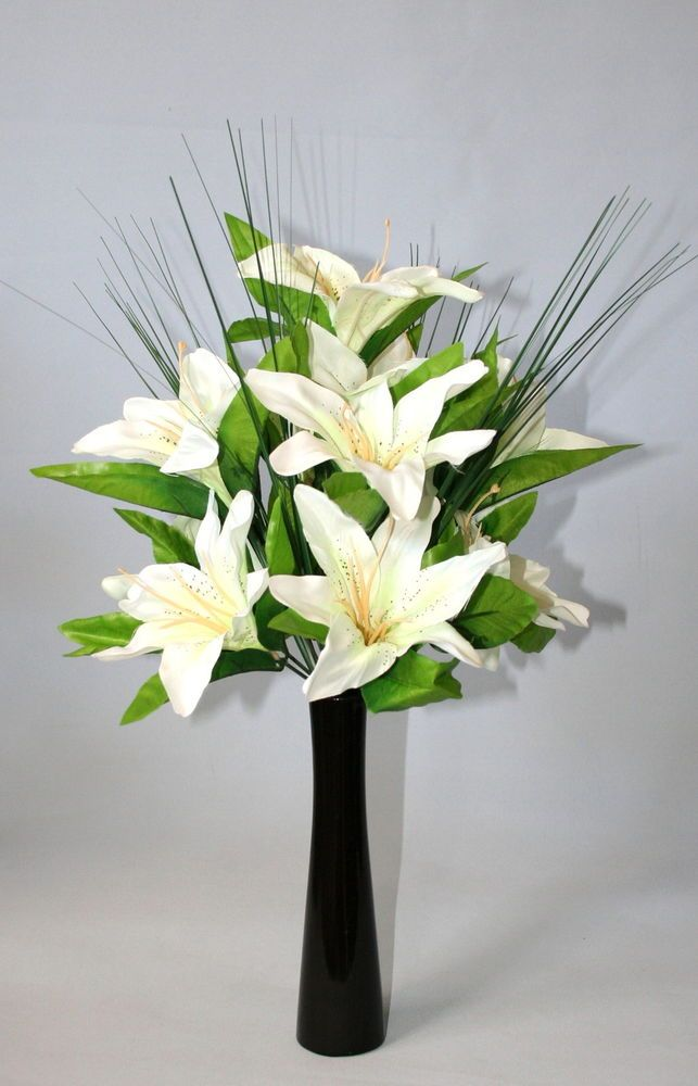 White Tiger Lily Artificial Flower Arrangement Spray In Black Vase