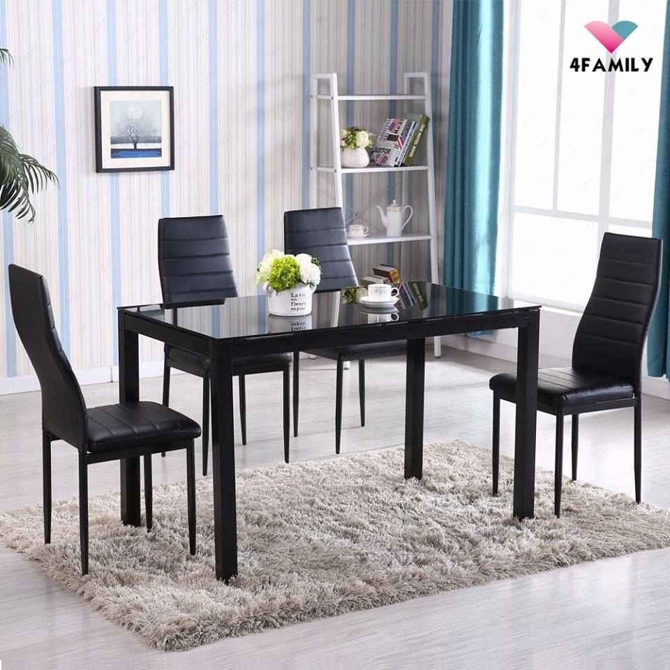Ebay 5 Piece Dining Table Set 4 Chairs Glass Metal Kitchen Room