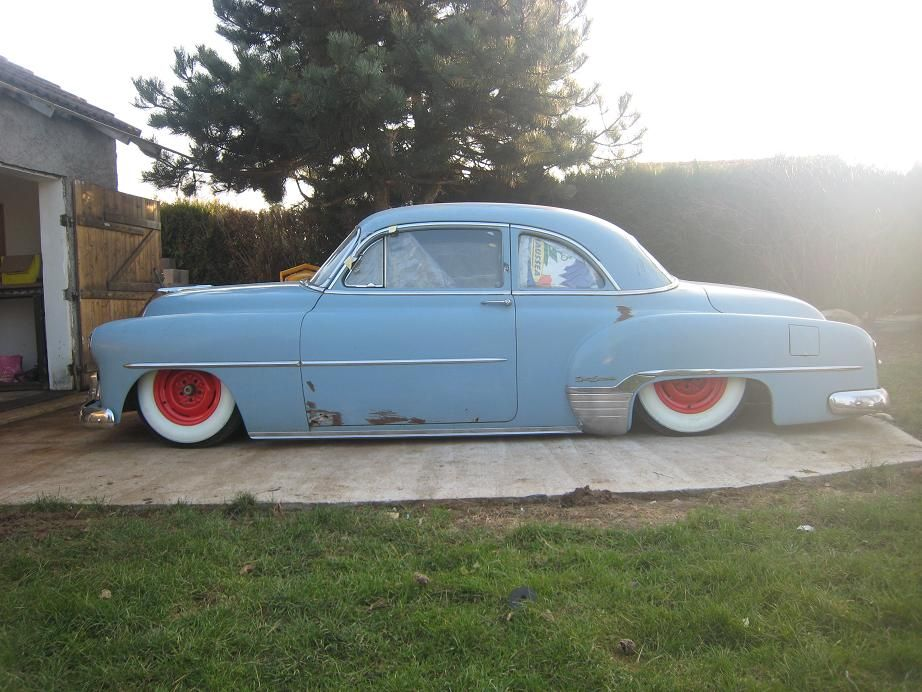 Baby Blue 49 Chevy Sport Coupe On Custom Lowered Suspension Side View
