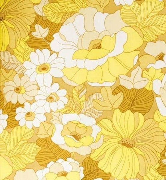 024 Floral Print Yellow Yellow Art Print Pattern Wallpaper Retro Prints