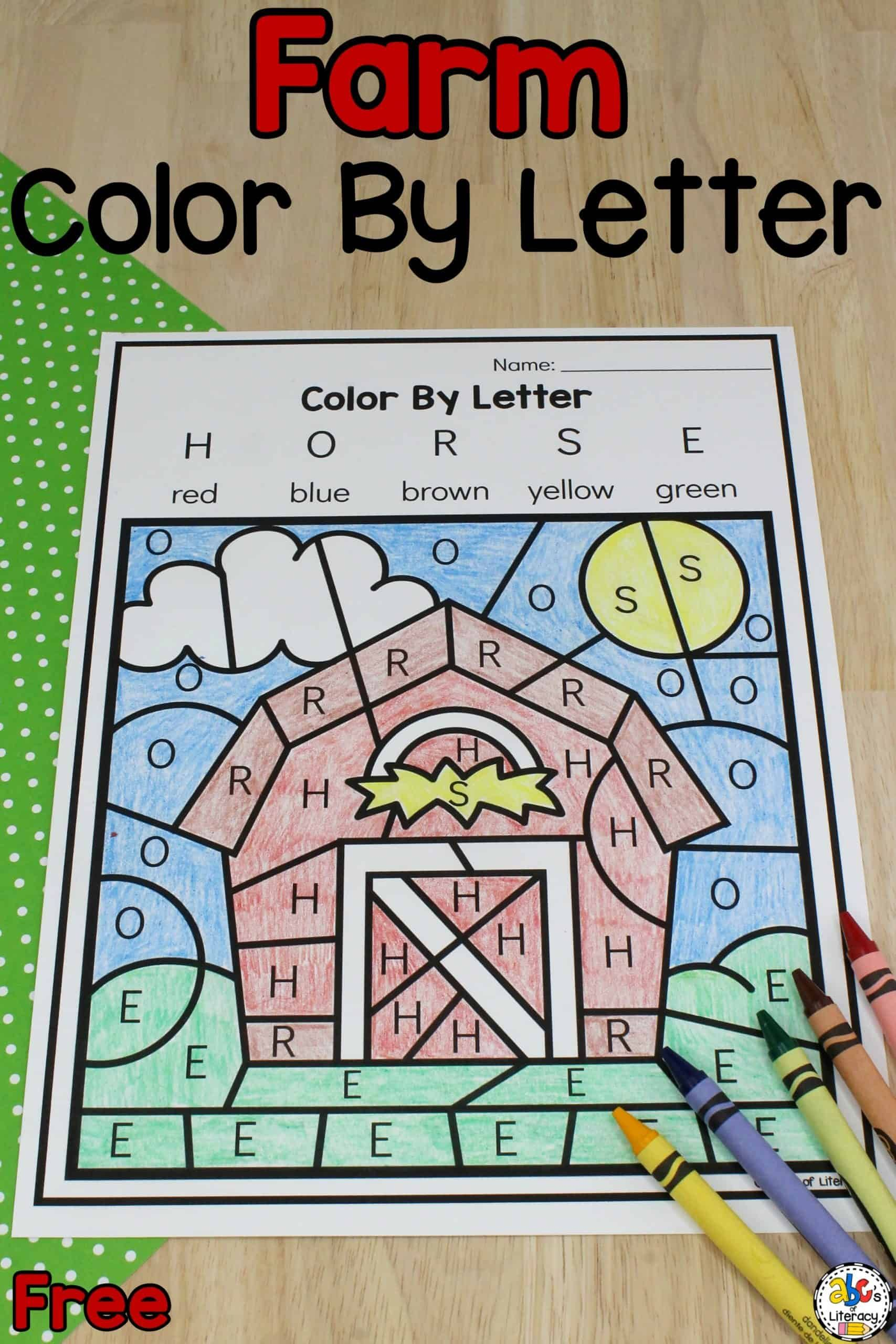 Barn Color By Letter Worksheet In