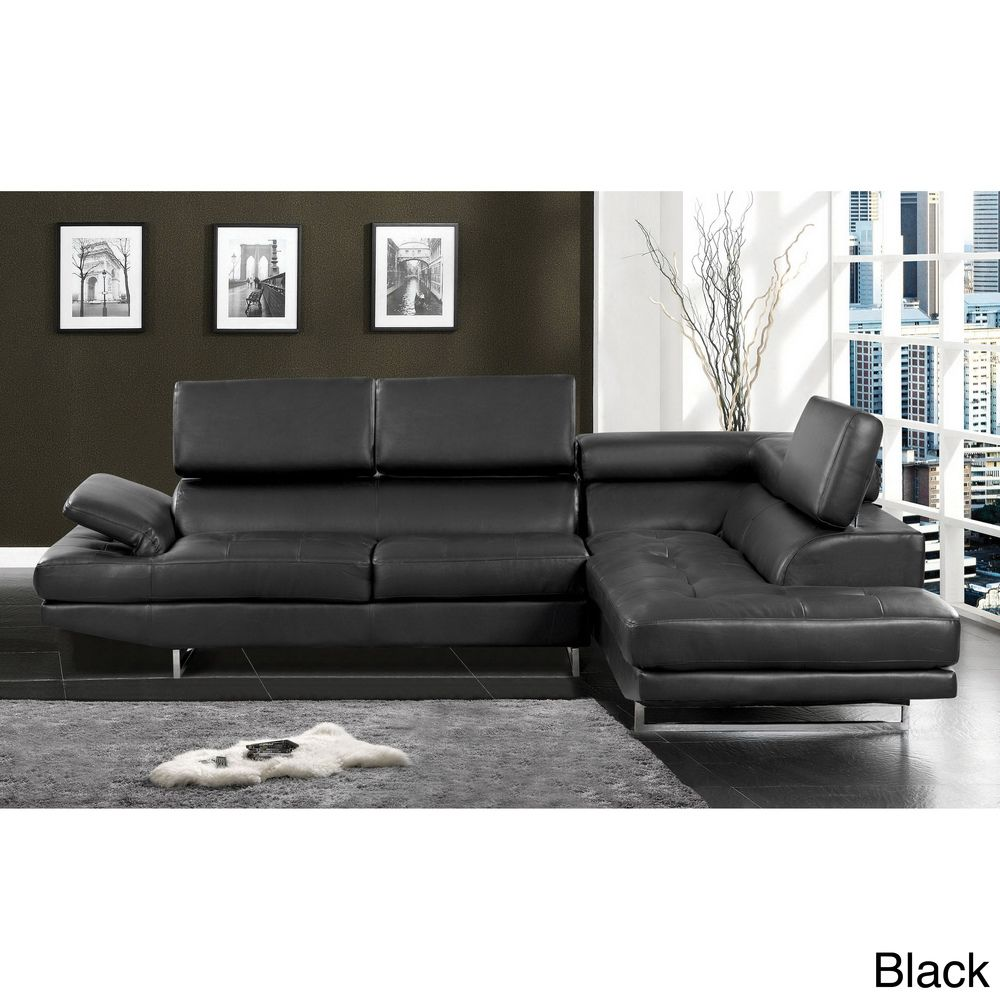 Delicieux Furniture Of America Kemi Modern Style Black Bonded Leather Sectional Sofa  With Adjustable Headrests And Tufted Seats With Chrome Legs.