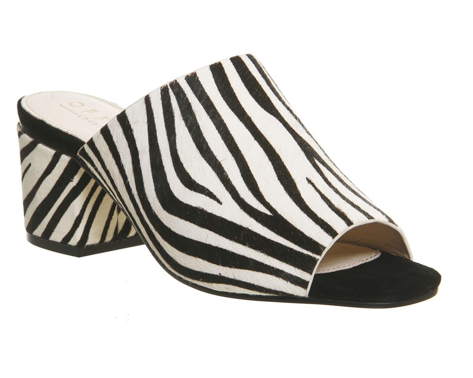 b0306b46c1ab Office Madness Block Heel Mules Zebra Pony Effect - Mid Heels