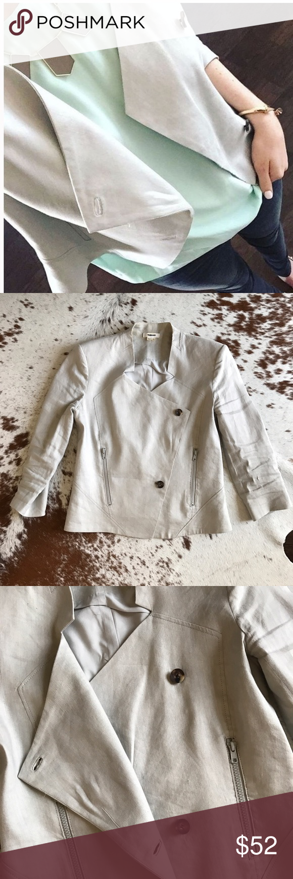 Helmut Lang grey blazer 6 Perfect for work or going out and looks amazing on. 3/4 length sleeves. Minor staining on inside of the collar from a spray tan, otherwise in excellent condition. Helmut Lang Jackets & Coats Blazers