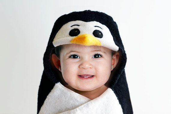 Baby Penguin Hooded Baby Towel Fleece Applique 12  by WeeChateau