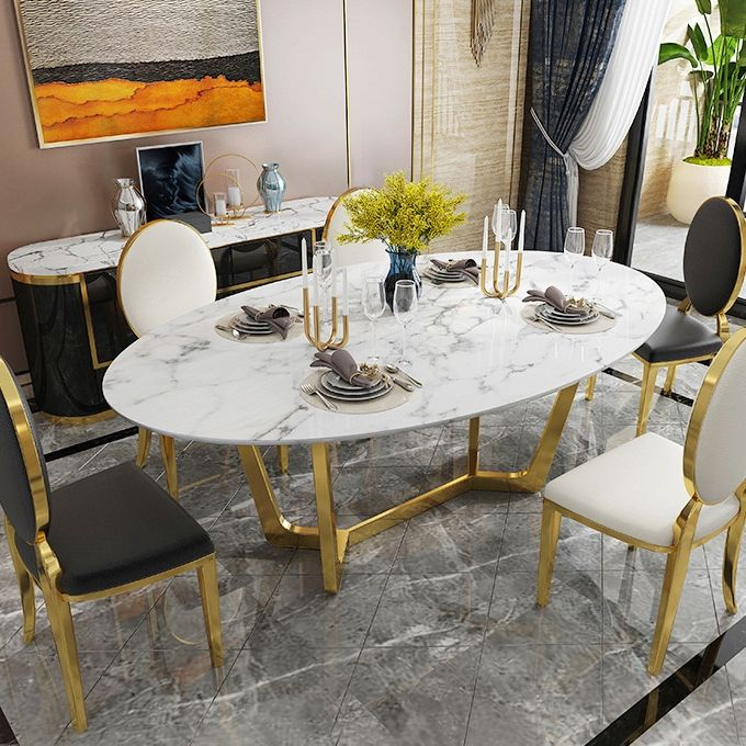 Oval Dining Table White Faux Marble Dining Table Modern 63 Dining Table With Gold Frame In 2021 Dining Table Marble Oval Dining Room Table Faux Marble Dining Table