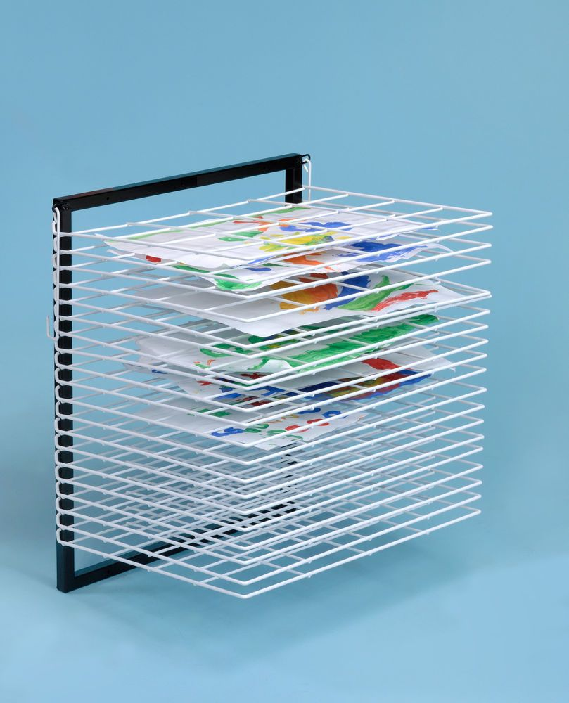 20 Shelf Wall Mounted Art Drying Rack With Free Non Spill Paint