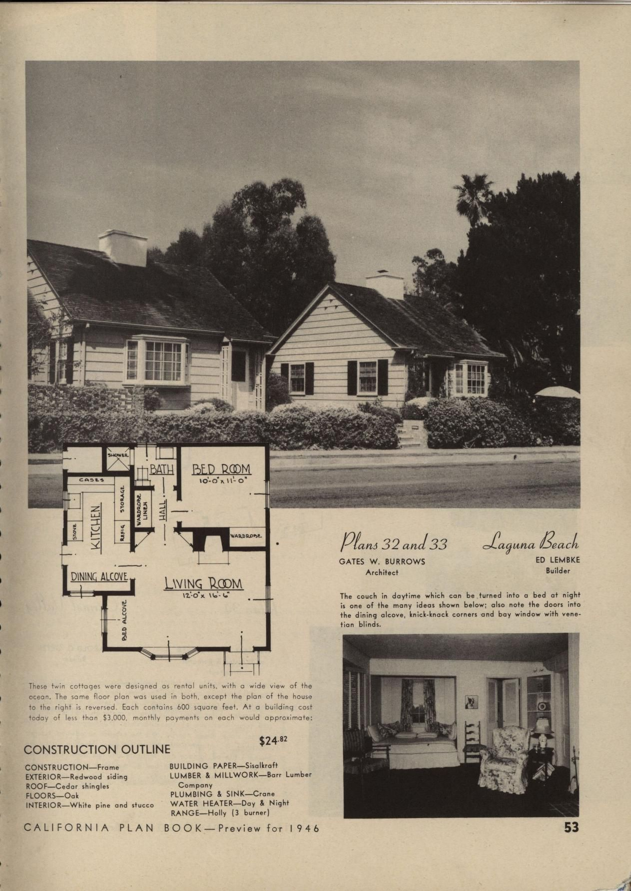 California Plan Book 2nd And Enlarged Edition Architectural Prints Vintage House Plans Different House Styles