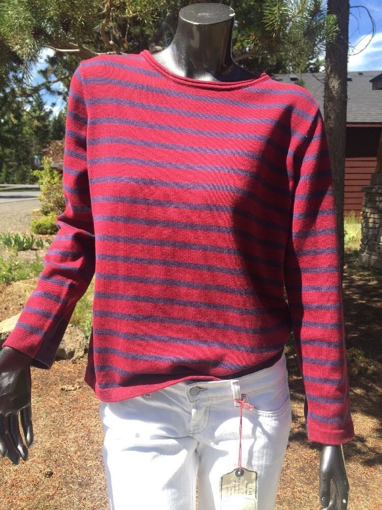 30f0ded581 Women s Haiku Rugby Striped Boat Neck Casual Cotton Sweater Med Nautical