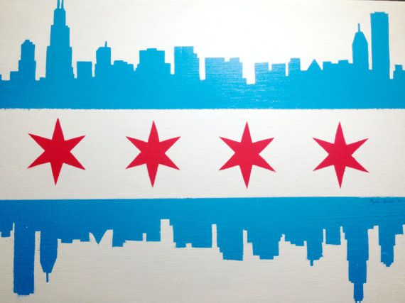 Chicago Flag With Sports Team Logos And Skyline Chicago Sports Teams Logo Sports Team Logos Chicago Flag