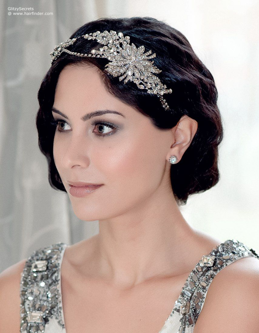 gatsby bob with waves and a tiara | wedding headpieces in