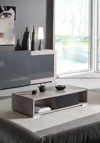 Table basse contemporaine ARTYS, coloris chêne gris clair laqué ...