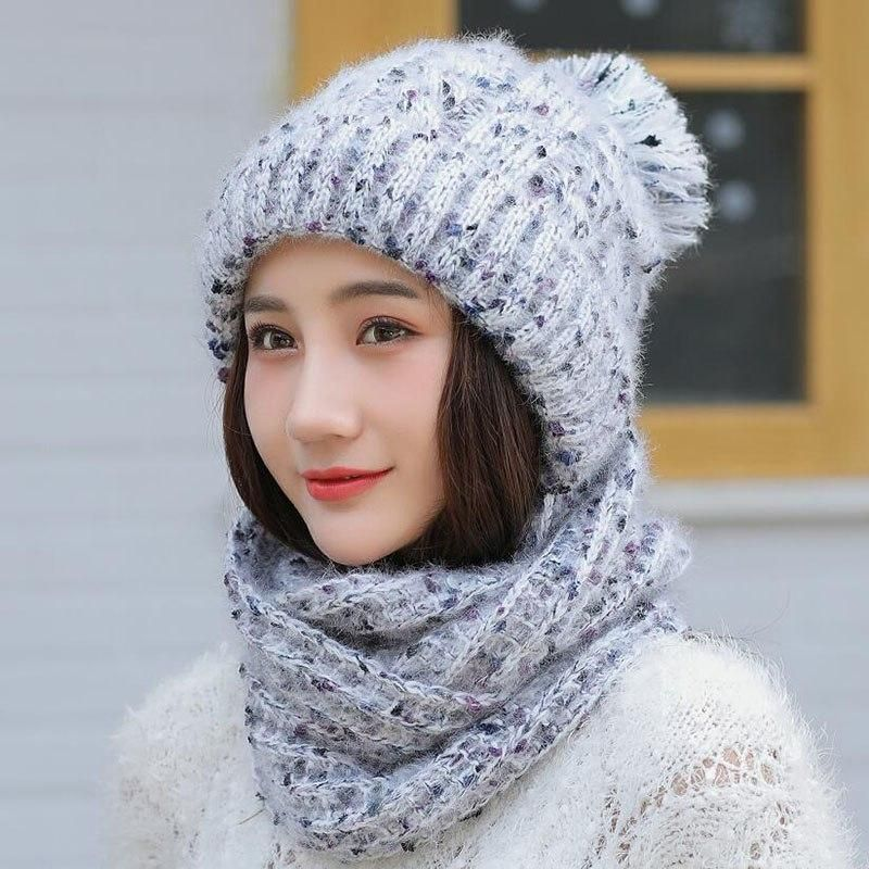 5573df2c02a Hot Ski Girl 2018 New Brand Color Mixing Knitted Hats Scarf Hat Set Women s Winter  Hat Thick Beanie Skullies Female Hood