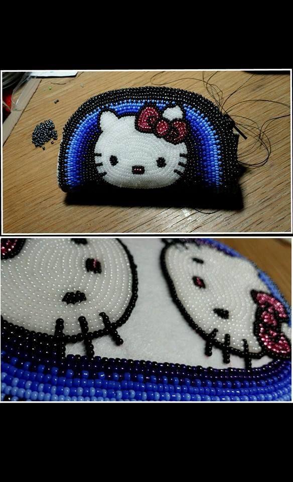 Hello Kitty Fully Beaded Coin Purse Bead Crochet