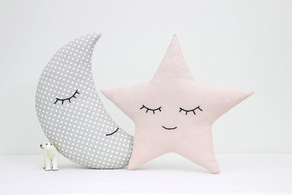 Set of moon and star pillows, light pink and gray pillows ...