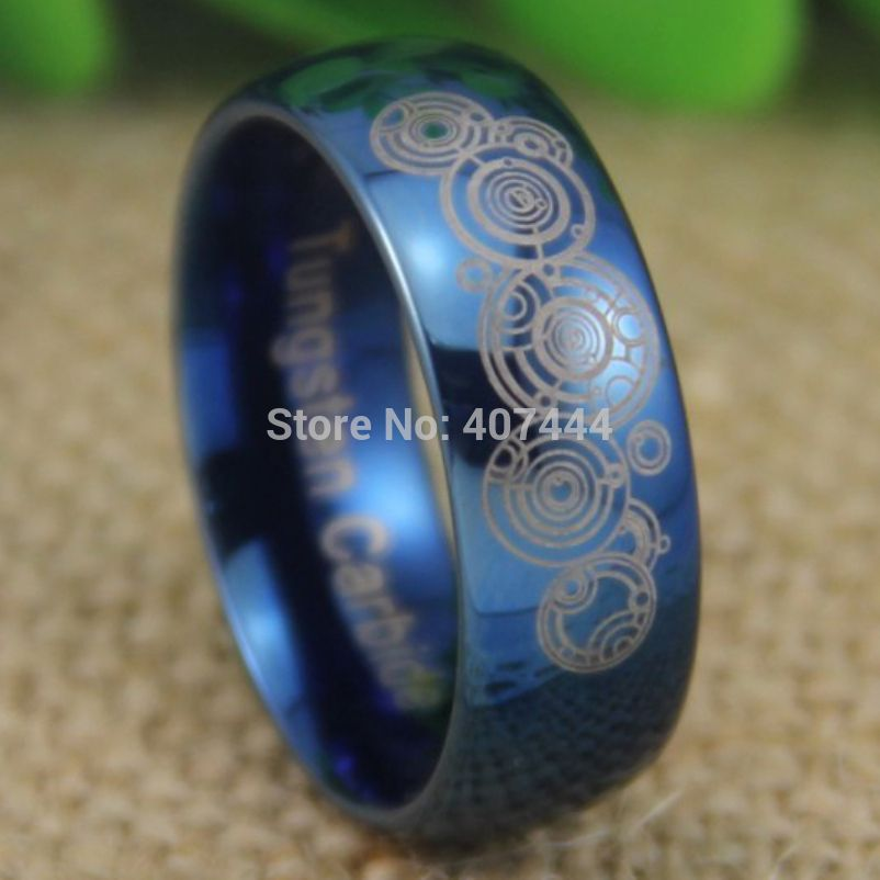 Hot S Doctor Who Time Lord Shiny Blue Dome Men Fashion Tungsten Wedding Ring