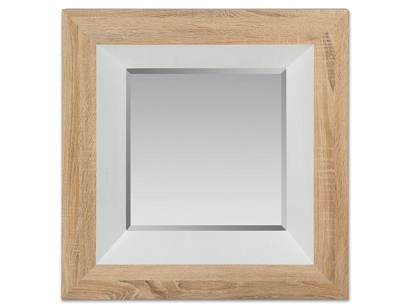 Espejo cuadrado blanco y madera | Madera natural, Cuadrados y Envejecer
