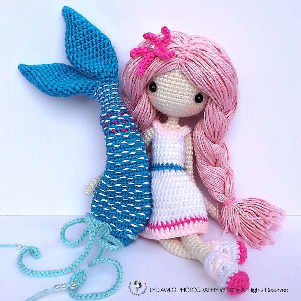English Crochet Doll Pattern Mermaid Ava艾娃 A Crochet Doll With