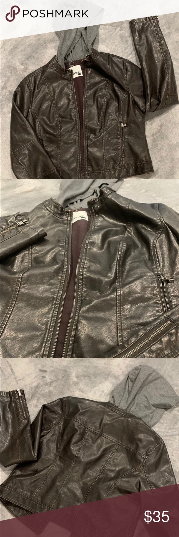 Vintage Leather Trucker Jacket With Hood Size L Trucker Jacket Hooded Jacket Leather [ 1740 x 580 Pixel ]
