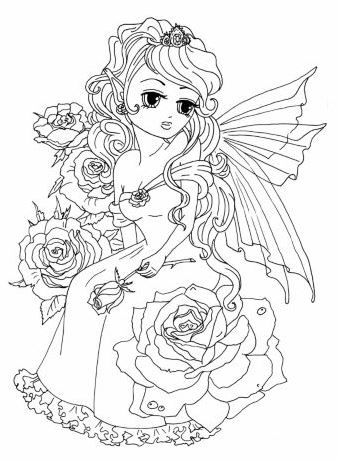 Anime Princess Fairies Artist Elena Yalcin Fairy Coloring Pages Fairy Coloring Coloring Books