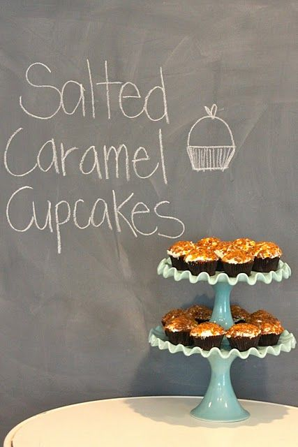 Salted Caramel Cupcakes - For the other English pintersters - one of the ingredients 'Skor' is apprently like a Daime bar which just so happens to be another one of my fav things