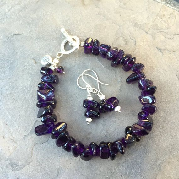 Amethyst Nugget Bracelet and Earrings, Matching Set