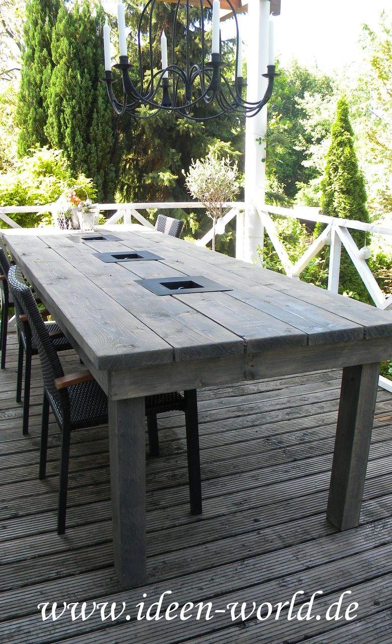 gartenmöbel ,gartentich ,tisch mit feuerstelle, individuelle, Esstisch ideennn