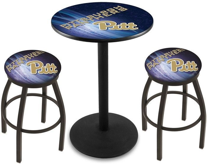 Pitt Panthers D2 Black Pub Table Set.  Available in two table widths. Visit SportsFansPlus.com for Details.