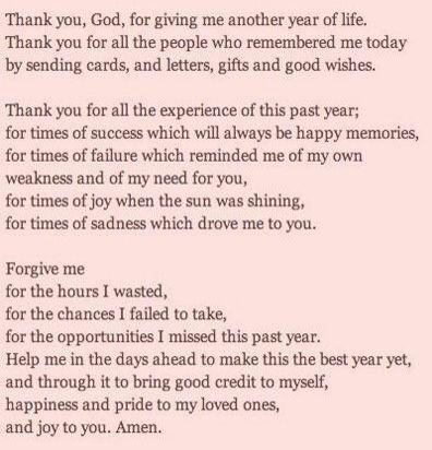 Birthday wishes and prayers for myself