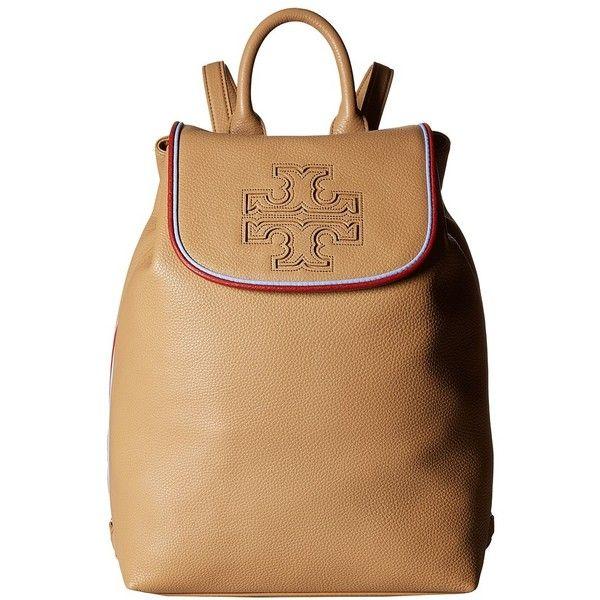 ea6eda9dd8f9 Tory Burch Harper Stripe Backpack (Vintage Camel Redwood Bow Blue ...