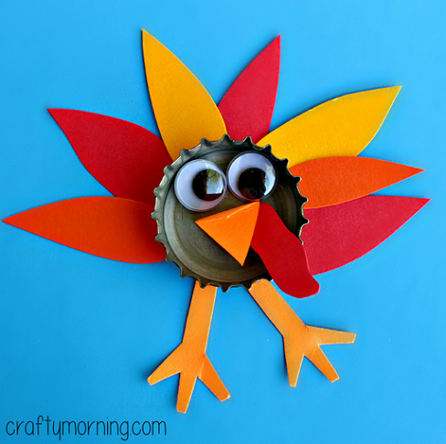 learn how to make a bottle cap turkey craft for the kids to make all - Turkey Pictures For Kids