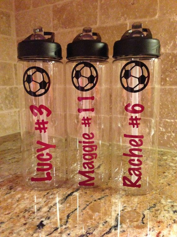 personalized soccer water bottles team gifts on etsy 13 00 gift