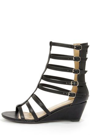 ab93e5196645 City Classified Snow Black Caged Gladiator Sandals at Lulus.com!