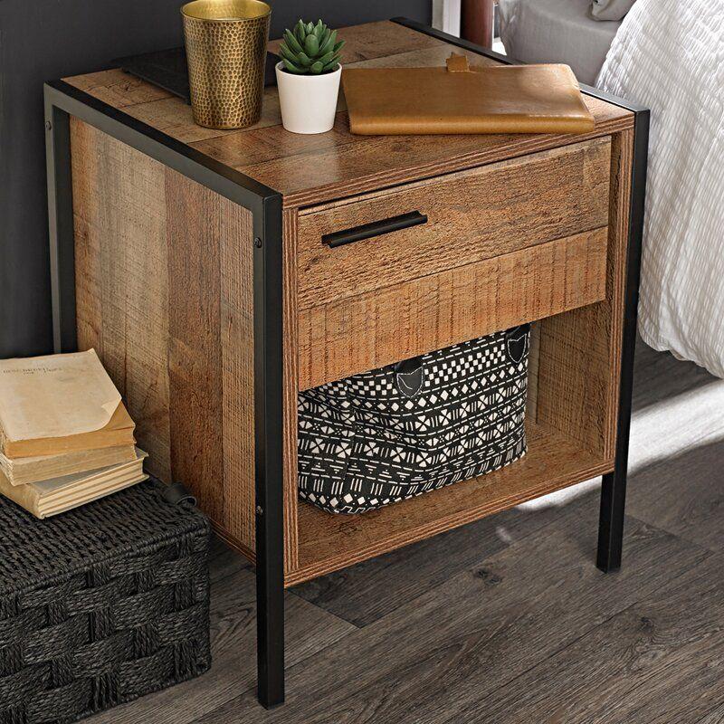 Amya 1 Drawer Bedside Table In 2020 Furniture Bedside Cabinet Table