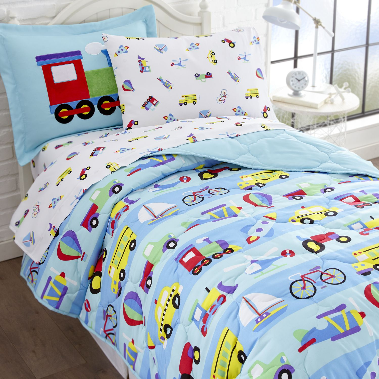 Blue Transportation Train & Trucks Bedding Twin or Full Bed in a Bag