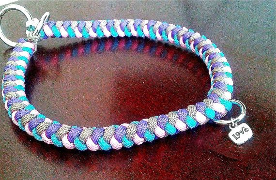 4 color round braid collar with charm paracord for Paracord leash instructions