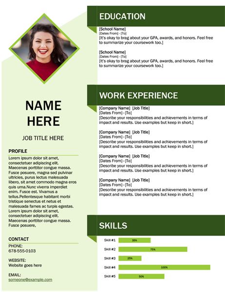 Green cube resume in 2020 Resume template free, Resume
