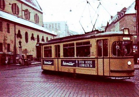 Strassenbahn in Augsburg, Germany.  I lived in Augsburg from 1983 to 1987