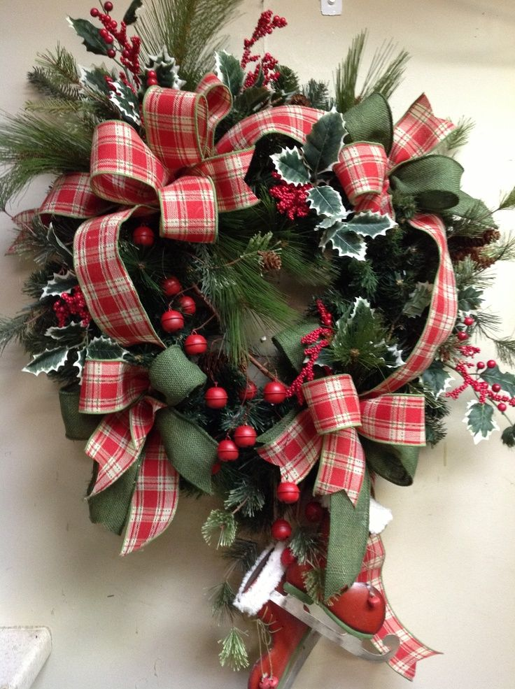 Country Christmas Decorations Country Christmas wreath Front - country christmas decorations
