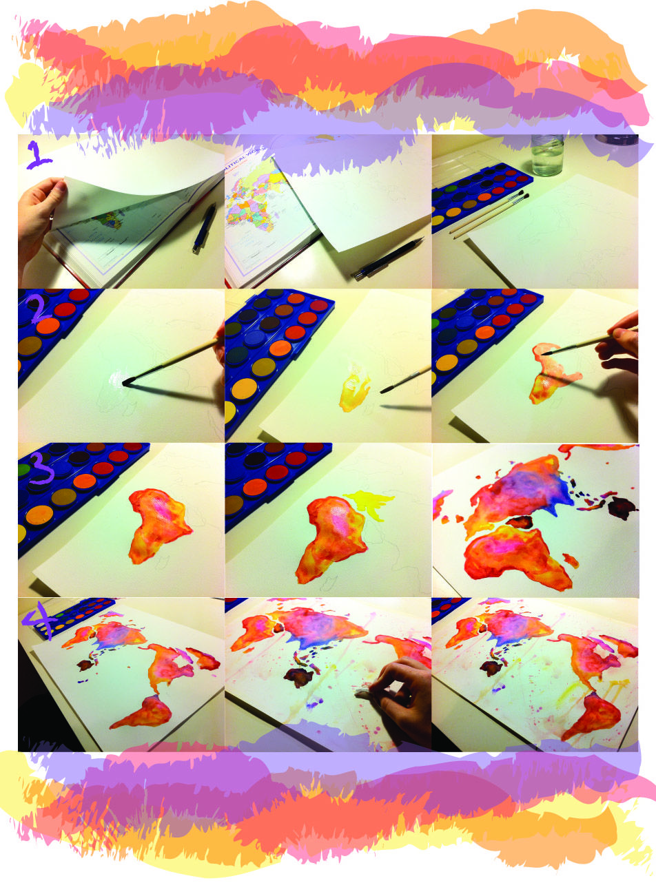 Diy watercolour world map stuff to make pinterest watercolor diy watercolour world map gumiabroncs Gallery