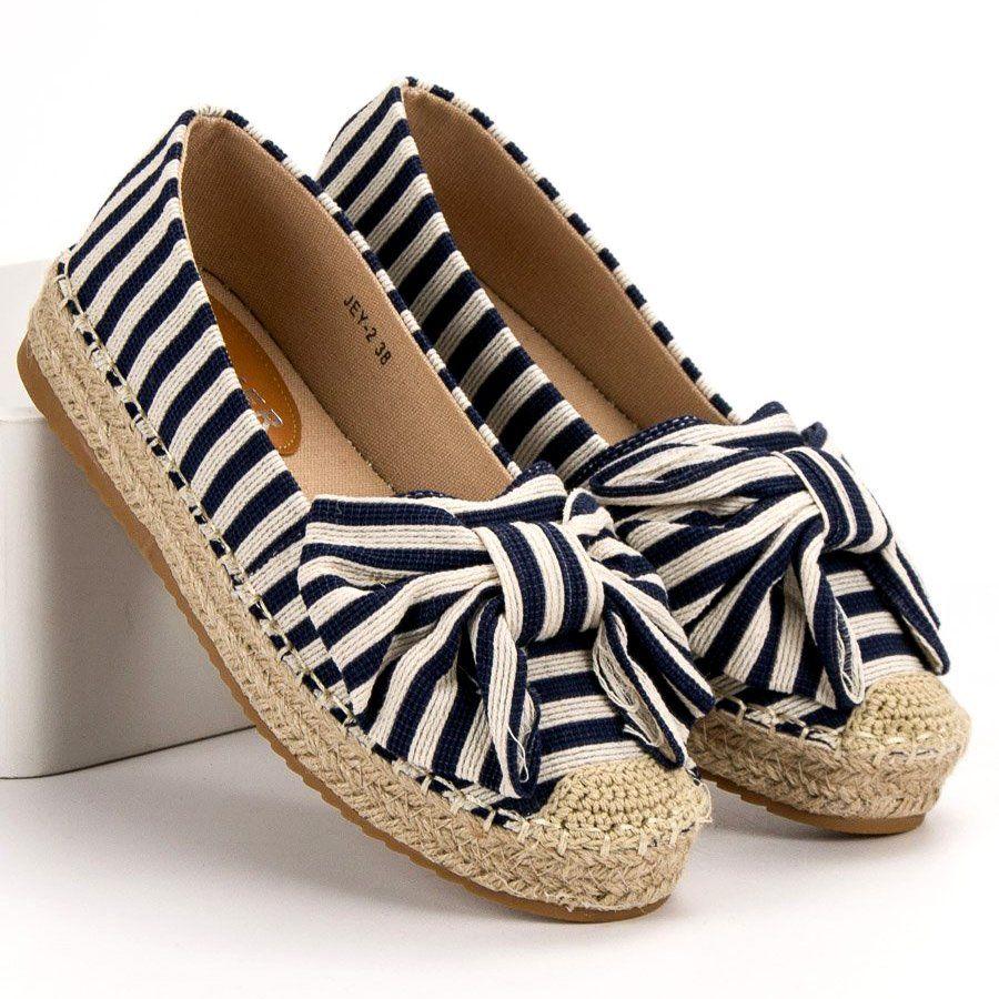 Espadryle W Paski Brazowe Niebieskie Granatowe Espadrilles Shoes Stuff To Buy