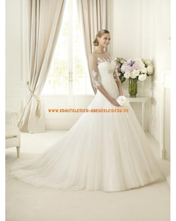 2013 Extravagante Brautkleider aus Organza für Prinzessin mit Halb Ärmel online