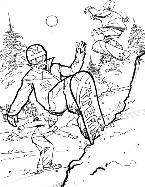 Snowboard Coloring Pages For Adults Google Search In 2020 Cat