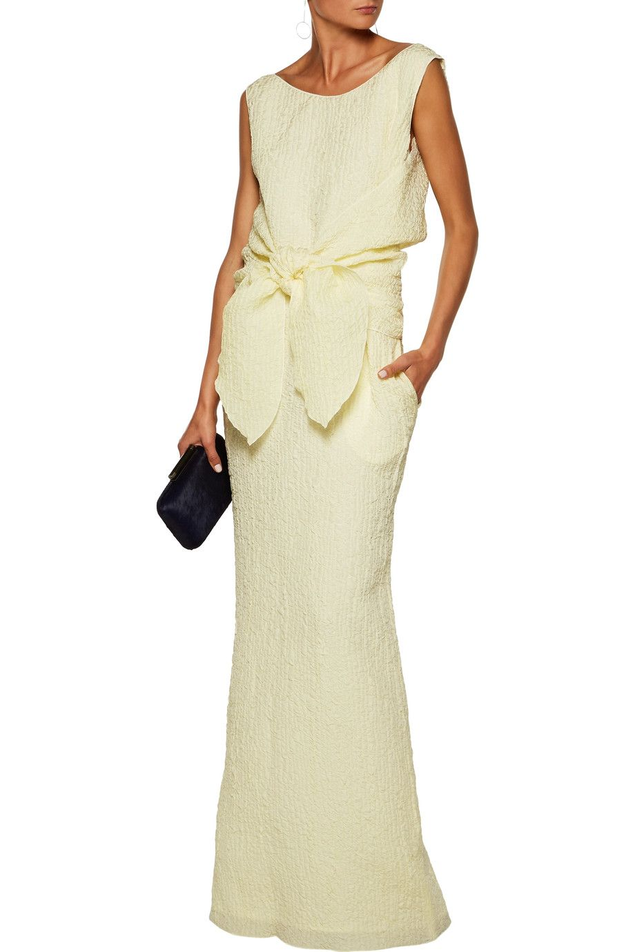 Nina Ricci tie-front silk-blend seersucker maxi dress | Playing ...