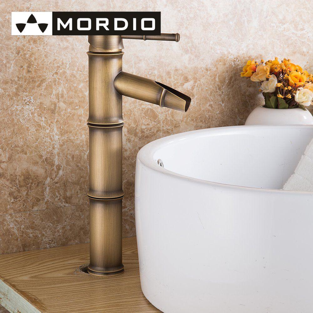 Single Handle Deck Mount Bathroom Bamboo Vessel Sink Faucet Bronze ...
